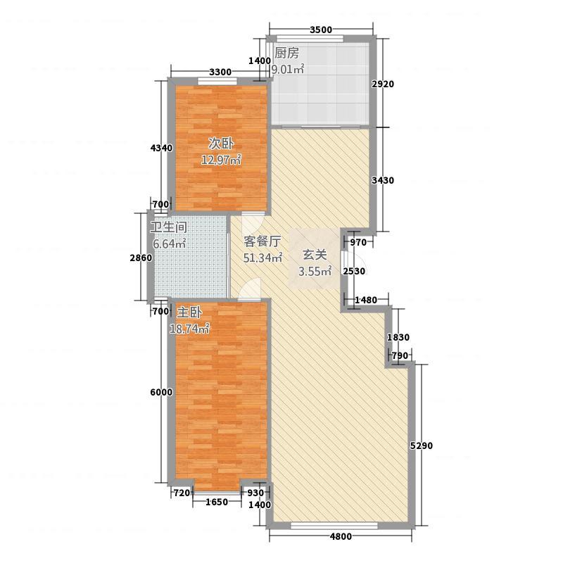 聚鑫佳苑136.00㎡136户型2室2厅1卫1厨
