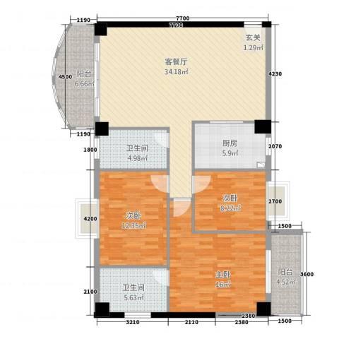海岸明珠3室1厅2卫1厨121.00㎡户型图
