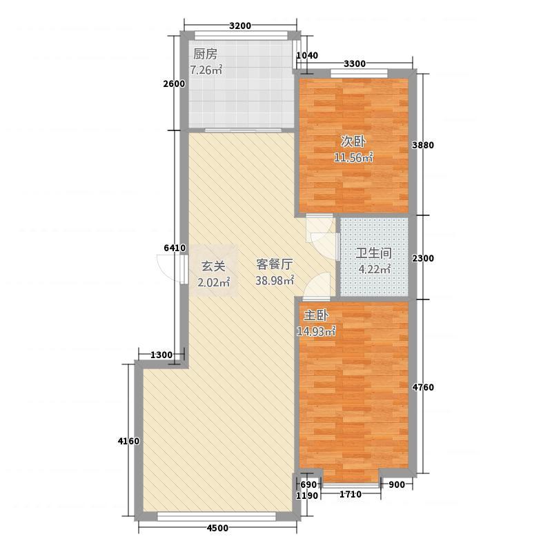 聚鑫佳苑134.00㎡134户型2室2厅1卫1厨