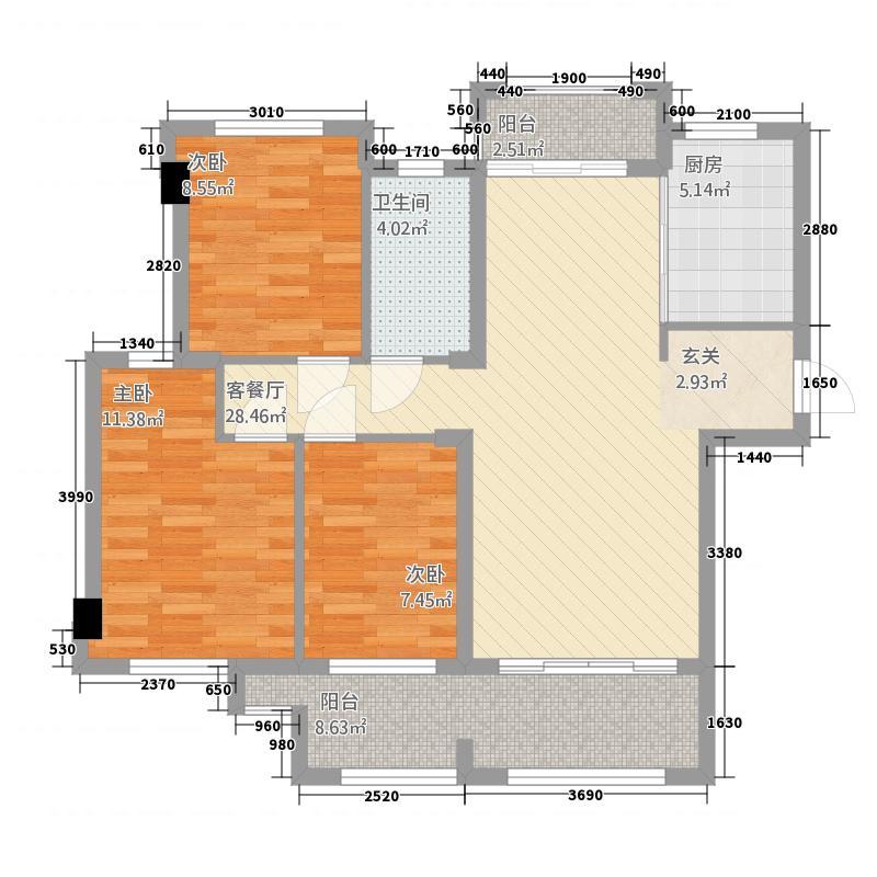雷诺名郡33211.22㎡A户型3室2厅1卫1厨