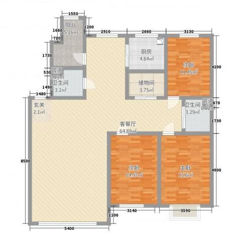 东珠美地3室1厅2卫1厨181.00㎡户型图