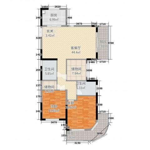 恒佳太阳城2室1厅2卫1厨131.00㎡户型图