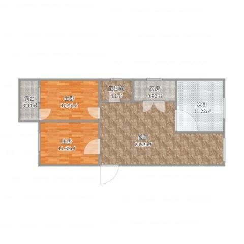 德胜新村南3室1厅1卫1厨99.00㎡户型图