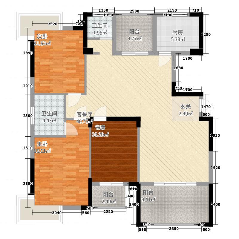 欣荣明珠133.00㎡6#栋6-1户型3室1厅2卫1厨