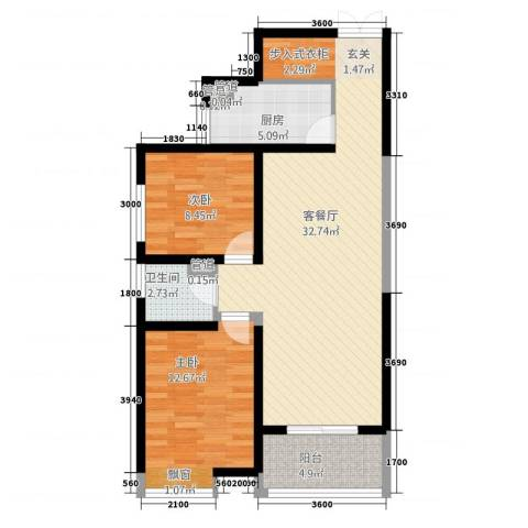 曲江中铁建国际城2室1厅1卫1厨93.00㎡户型图
