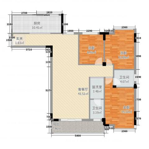 花园李家村3室2厅2卫1厨151.00㎡户型图