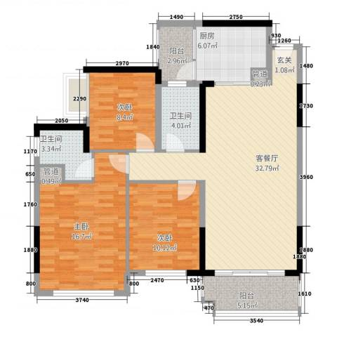 花园李家村3室1厅2卫1厨129.00㎡户型图