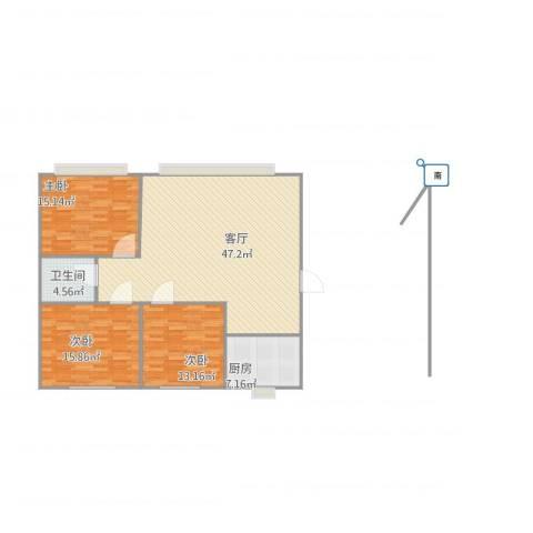丽园C区3室1厅1卫1厨109.00㎡户型图