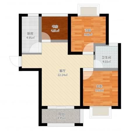 高巢3室1厅1卫1厨88.00㎡户型图