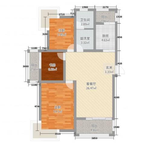 盛世嘉苑二期荷塘月舍3室2厅1卫1厨110.00㎡户型图