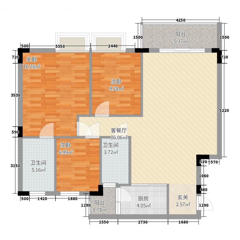润阳花园户型3室2厅2卫1厨