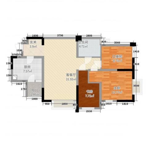 龙泉国际3室1厅1卫1厨109.00㎡户型图
