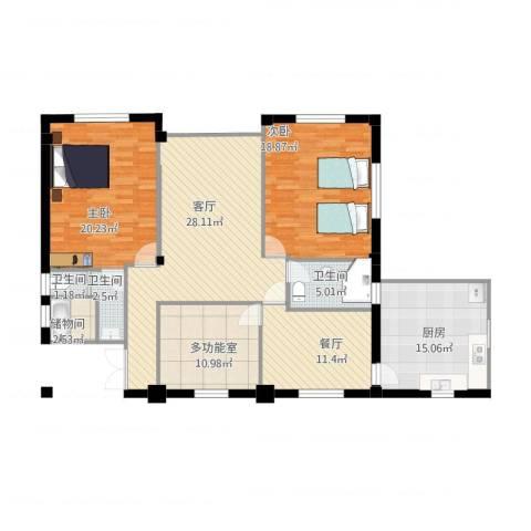 金地澜悦2室2厅3卫1厨161.00㎡户型图