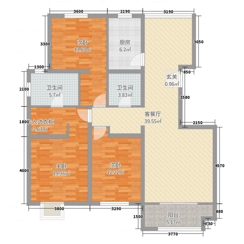 承德・铂悦山136.00㎡C3地块F1户型3室2厅2卫1厨
