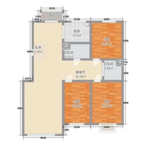 东珠美地3室1厅2卫1厨161.00㎡户型图