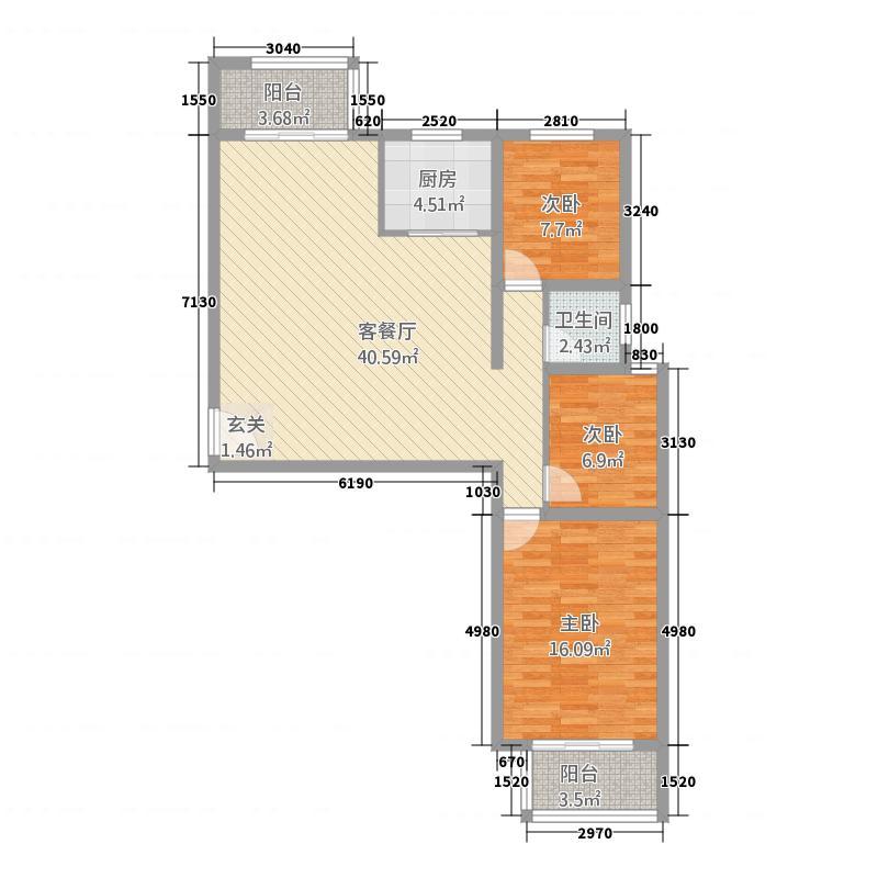 置地花园121.21㎡竖版户型3室2厅1卫1厨