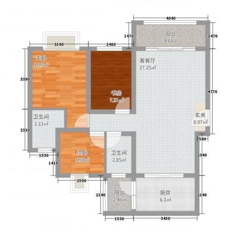 君华硅谷3室1厅2卫1厨103.00㎡户型图