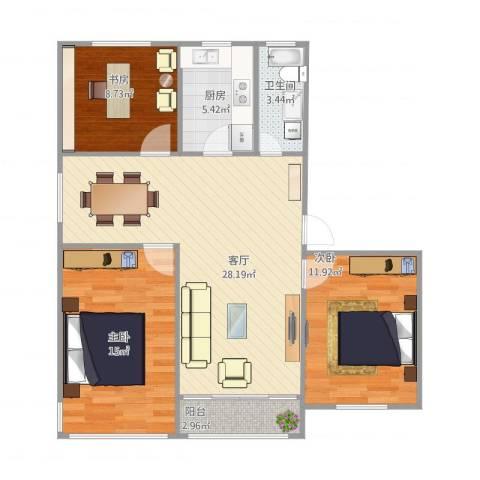 文昌桥小区3室1厅1卫1厨102.00㎡户型图