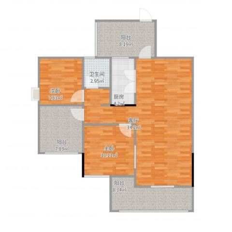 温馨家园2室1厅1卫1厨113.00㎡户型图