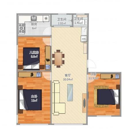 文昌桥小区3室1厅2卫1厨102.00㎡户型图