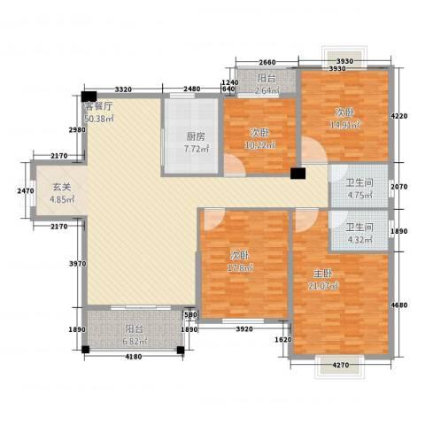 轩坤花园4室1厅2卫1厨185.00㎡户型图
