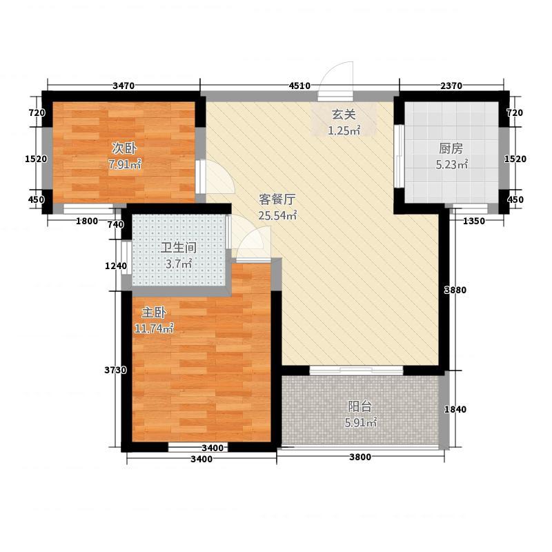 建业桂园86.68㎡2#、5#、6#、7#A户型2室2厅1卫1厨