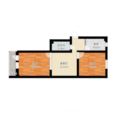 白纸坊西街6号院2室1厅1卫1厨71.00㎡户型图
