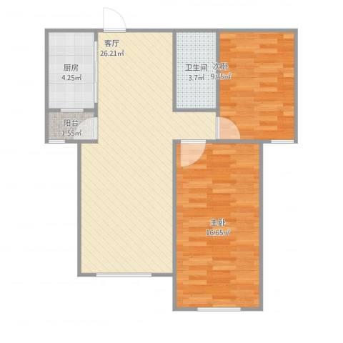 丽景蓝湾C区2室1厅1卫1厨84.00㎡户型图