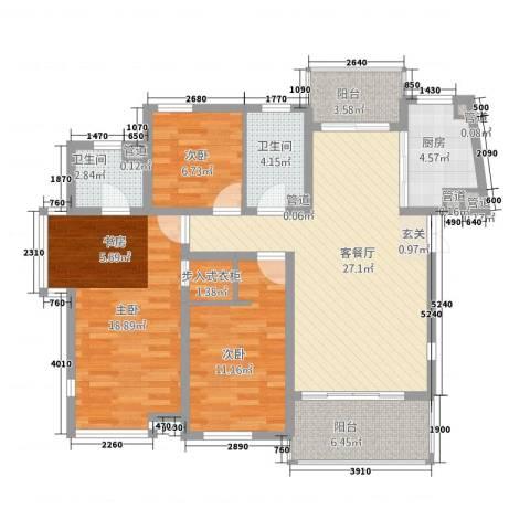 金枫苑阳光水岸3室1厅2卫1厨125.00㎡户型图