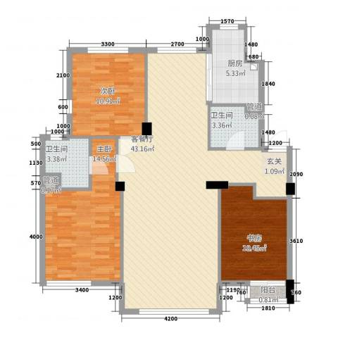 大连安波国际温泉新城3室1厅2卫1厨119.00㎡户型图