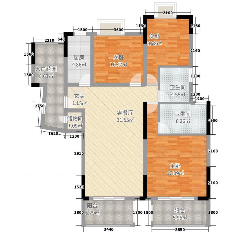 博泰・水韵天颐2125.11㎡A2栋C-3户型3室2厅2卫1厨