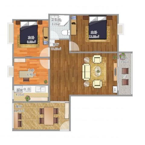 曼哈顿MOMA国际社区3室2厅1卫1厨97.00㎡户型图