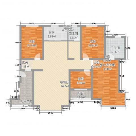 祥荣・香榭名筑4室1厅2卫1厨163.00㎡户型图
