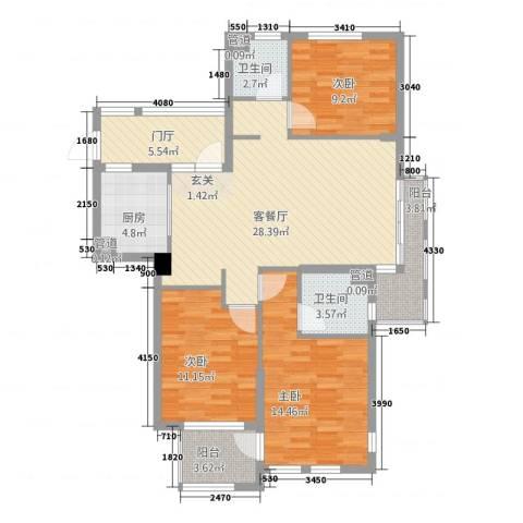 西西那堤三期3室1厅2卫1厨127.00㎡户型图
