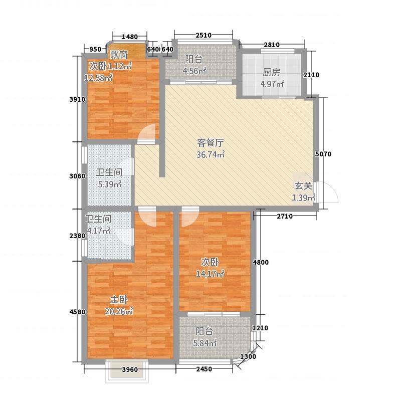 冠蒙・六合御庭152.38㎡14户型3室2厅2卫1厨