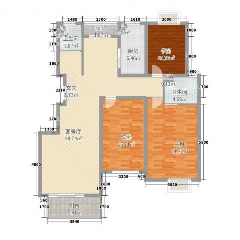 锦麟天地3室1厅2卫1厨136.00㎡户型图