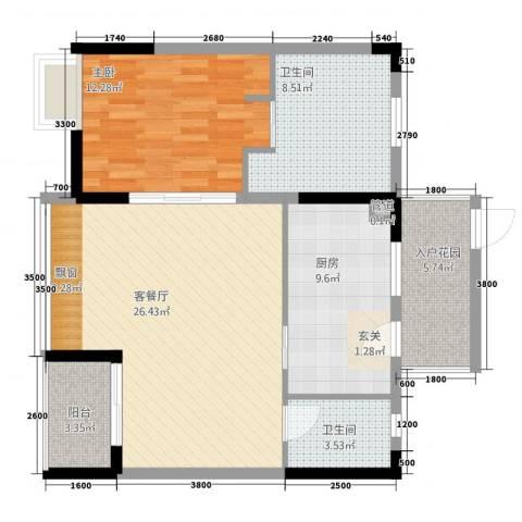 万科棠樾1室1厅2卫1厨98.00㎡户型图