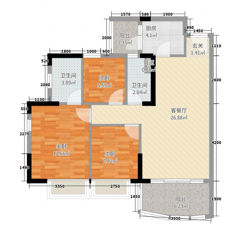 尚东尚筑A4座02单位户型3室2厅2卫