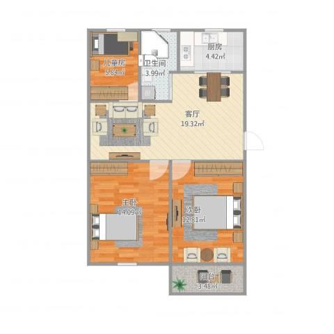 西康路3室1厅1卫1厨86.00㎡户型图