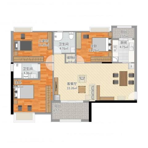 港湾江城3室1厅2卫1厨133.00㎡户型图