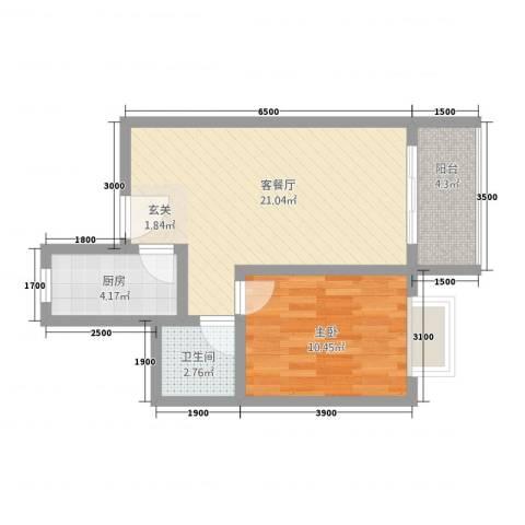 山水兰庭1室1厅1卫1厨57.00㎡户型图