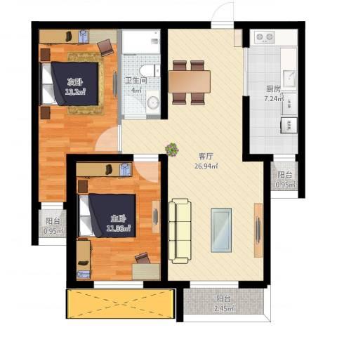 红星国际广场西苑2室1厅1卫1厨78.73㎡户型图