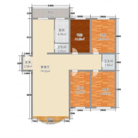 金山小区4室1厅2卫1厨186.00㎡户型图
