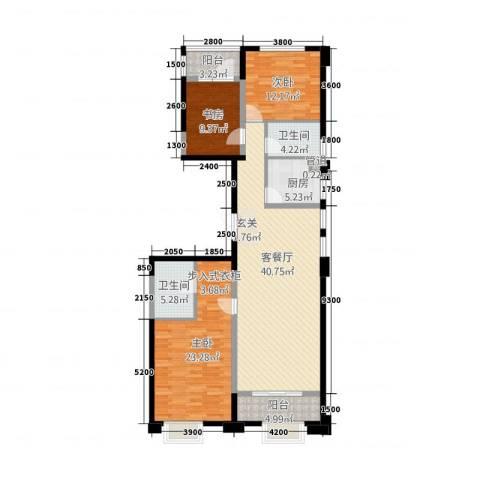 置地广场3室1厅2卫1厨143.00㎡户型图