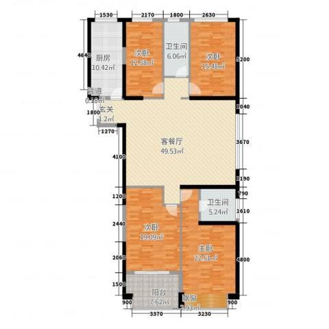 置地广场4室1厅2卫1厨205.00㎡户型图