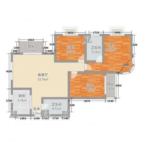 虹叶茗园3室1厅2卫1厨136.00㎡户型图