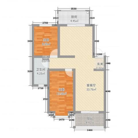 和兴花园2室1厅1卫1厨98.00㎡户型图