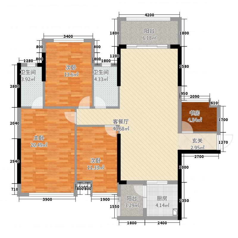 翰林居127.34㎡05、01号房户型3室2厅2卫