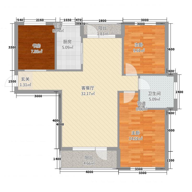 鹿山98.27㎡鹿山户型图5、6、9号楼标准层G房型3室2厅1卫1厨户型3室2厅1卫1厨
