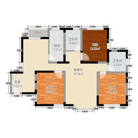 绿洲紫荆花园3室1厅2卫1厨151.00㎡户型图